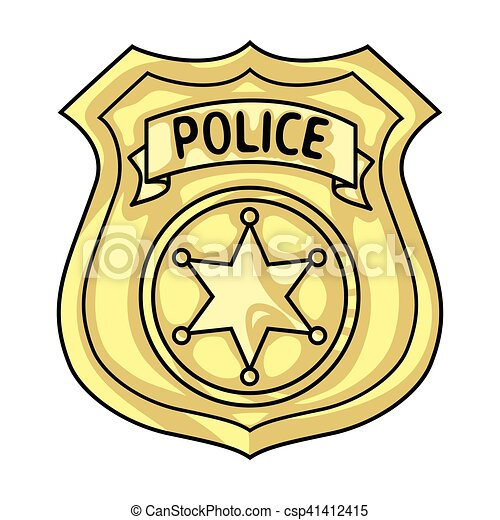 police officer badge icon in cartoon style isolated on white rh canstockphoto com police badge clipart free police badge clip art free