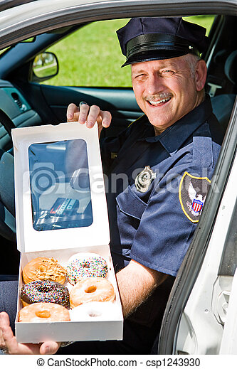 Police Officer - Box of Donuts - csp1243930
