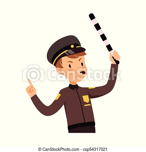 Police officer character managing road traffic, traffic policeman ...