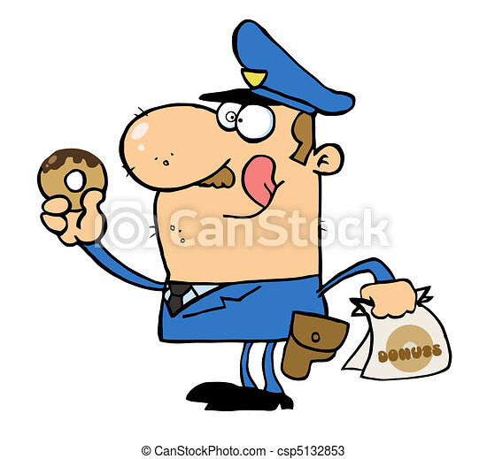 police officer eating donut hungry white cop licking his rh canstockphoto com