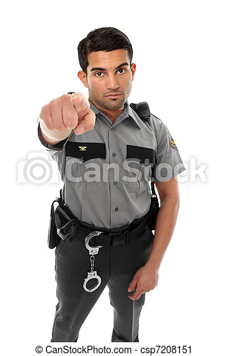 Police officer or prison guard pointing his finger - csp7208151