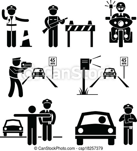 Police officer traffic on duty. A set of human pictogram ...