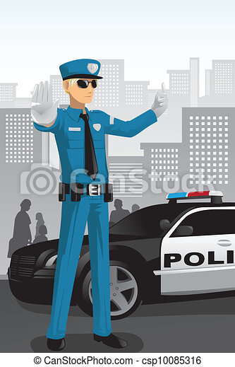 Police officer. A vector illustration of a police officer managing ...