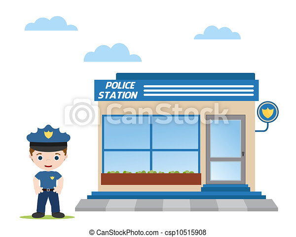 Police station clipart  Police station with police officer in front vector clipart ...