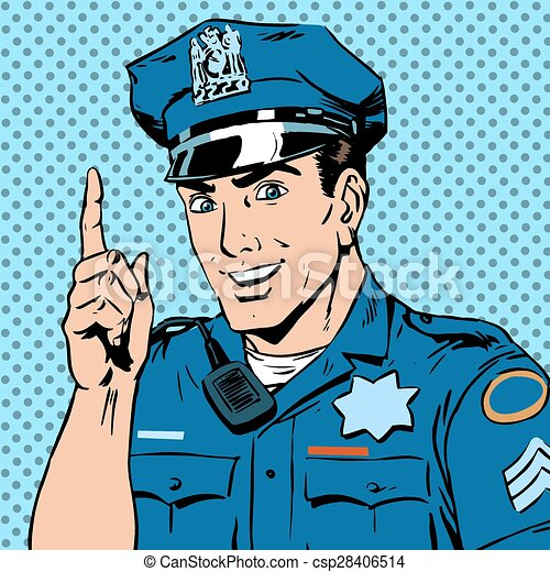 police officer warns draws attention profession smile law and or - csp28406514