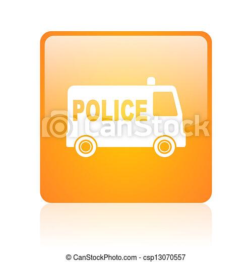 police orange square glossy web icon - csp13070557