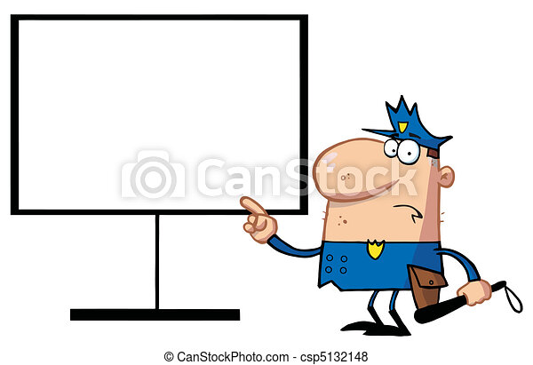 Police Pointing To A Blank Sign - csp5132148
