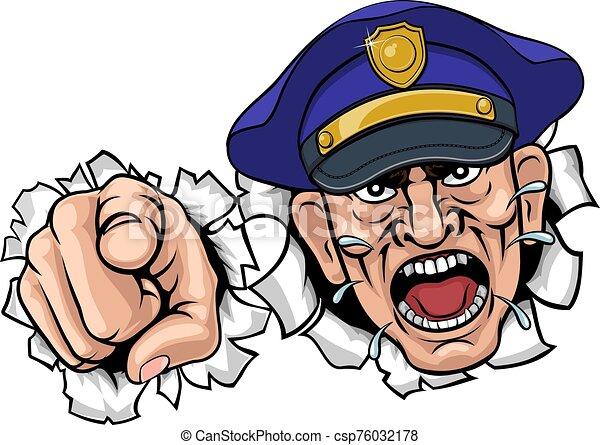 police, policier, dessin animé, fâché, officier - csp76032178