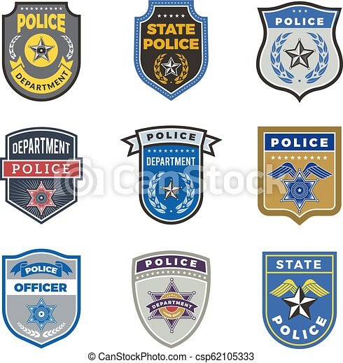 Police shield  Government agent badges and police department officer  security vector symbols