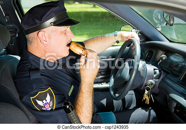 Police Snacking on the Job - csp1243935