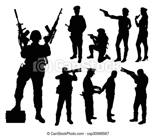 Police Soldier Military Silhouettes Good Use For Symbol