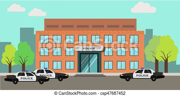 vector illustration of an exterior of police station clipart rh canstockphoto co uk police station clipart police department clip art
