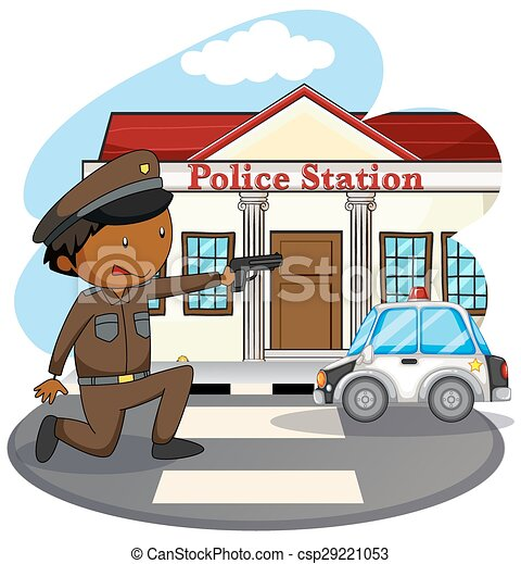 Police station clipart  Policeman in uniform and police station clipart vector - Search ...