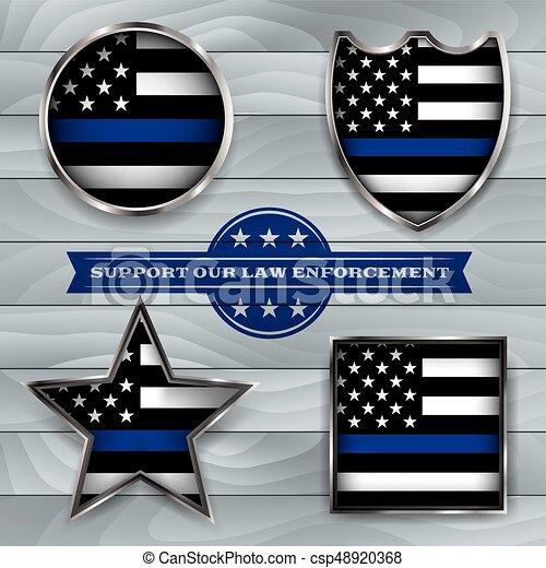 Police Support Flag Badge Illustration - csp48920368