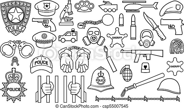 police thin line icons set (british bobby officer helmet, hat, bat, hands in handcuffs, revolver, chain with shackle, sheriff star shield, barbed wire, helicopter, bomb, gas mask, car, bullet) - csp55007545