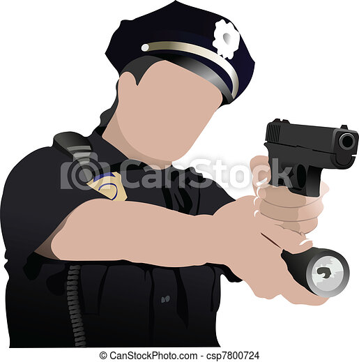 Police woman looking forward  isol - csp7800724