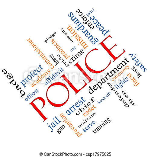 Police Word Cloud Concept Angled - csp17975025