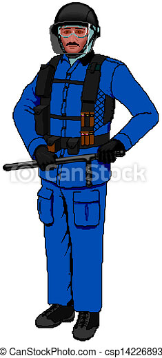 Policeman and white background - csp14226893