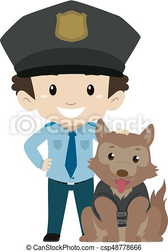 vector illustration of policeman boy with police dog clip art vector rh canstockphoto com policeman clipart images police clipart