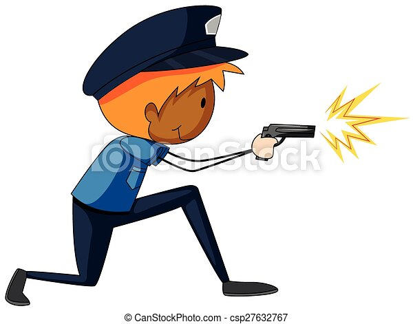 close up policeman shooting a gun clip art vector search drawings rh canstockphoto com clip art police items clipart policeman badges