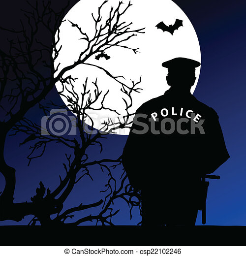 policeman on the moonlight vector - csp22102246