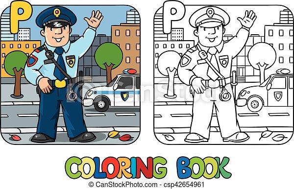 policeman profession abc coloring book clip art vector csp