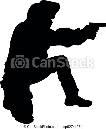 policeman shooting with pistol vector black silhouette police special forces officer swat team fighter in anti riot helmet https www canstockphoto com policeman shooting with pistol vector 62741264 html