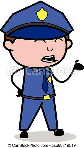 policial, apontar, policial, -, ilustração, falando, vetorial, retro - csp68319519