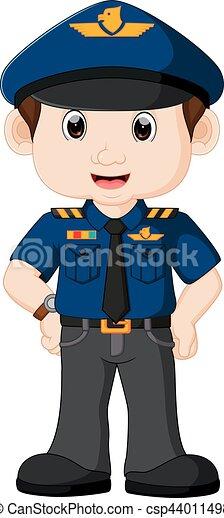 policier, dessin animé, jeune - csp44011498