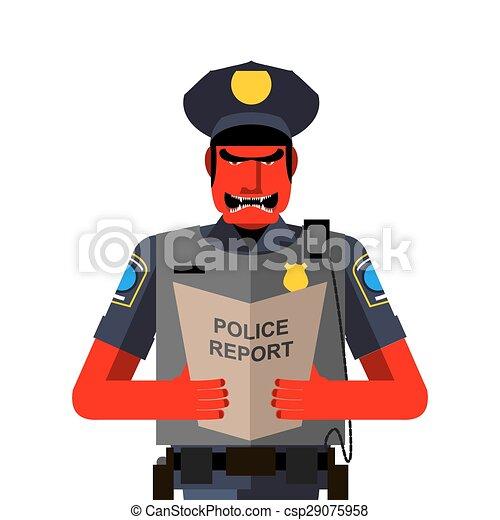 policier, fâché, shouts., illustration, vecteur, rouges, dreaded, uniform., homme - csp29075958