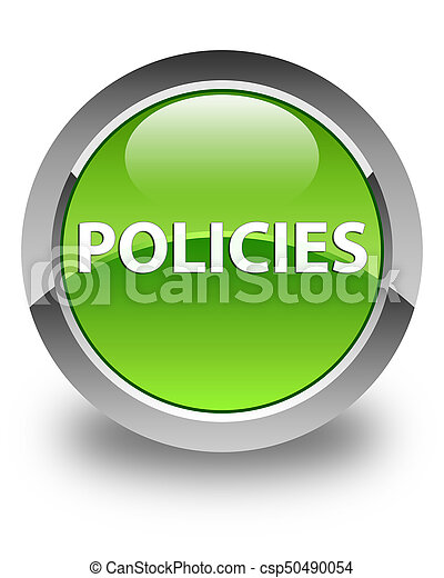 Policies glossy green round button - csp50490054