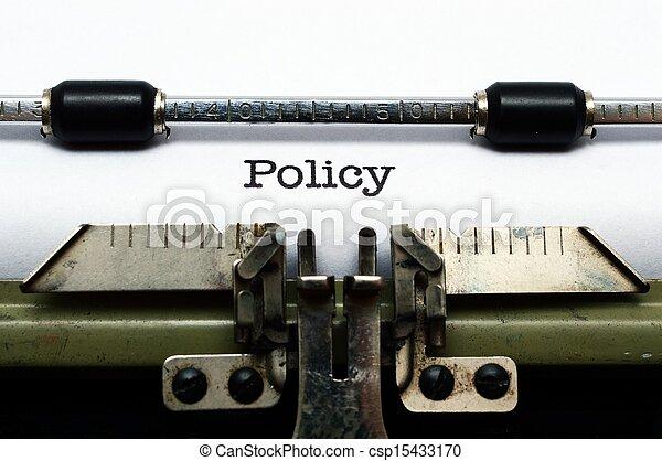 Policy on typewriter - csp15433170