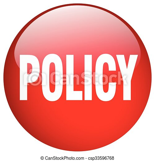 policy red round gel isolated push button - csp33596768