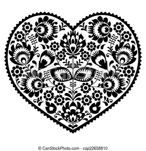 Polish black folk art heart pattern csp22658810