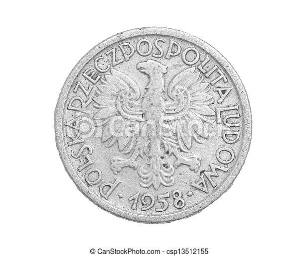 Polish coin on a white background - csp13512155