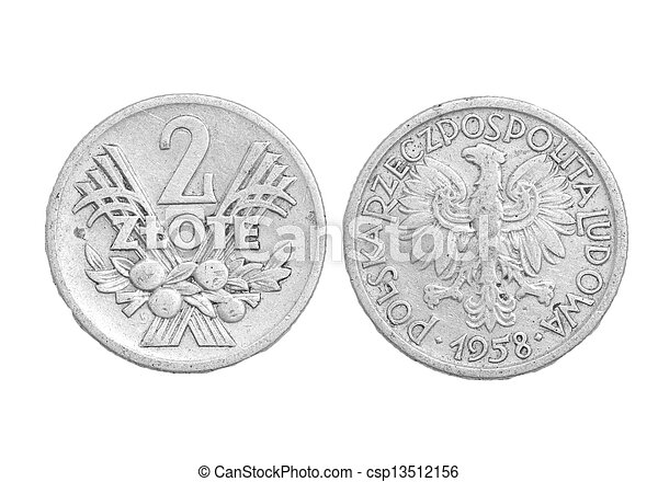 Polish coin on a white background - csp13512156