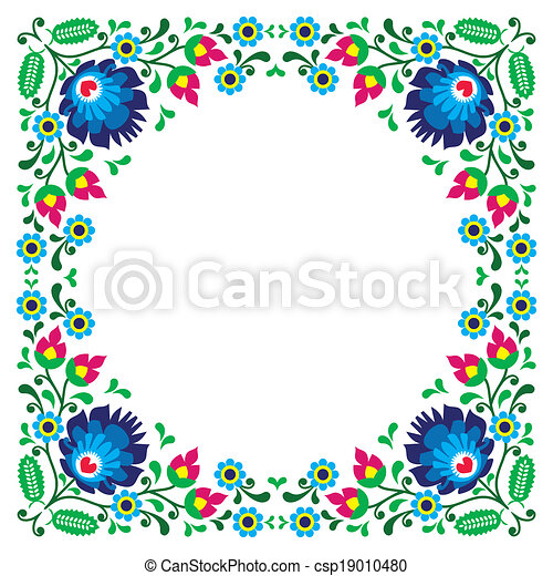 Polish floral folk embroidery frame - csp19010480