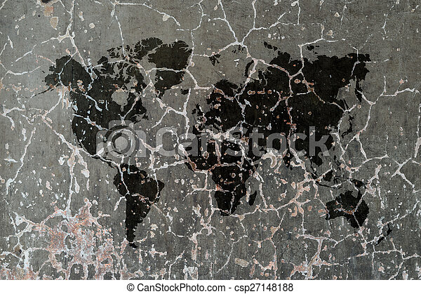 Polished bare concrete wall texture with world map polished polished bare concrete wall texture with world map csp27148188 gumiabroncs Images