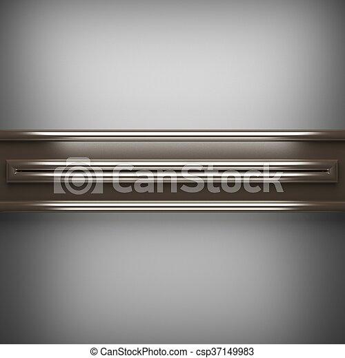 polished metal element on gray background. 3D illustration - csp37149983