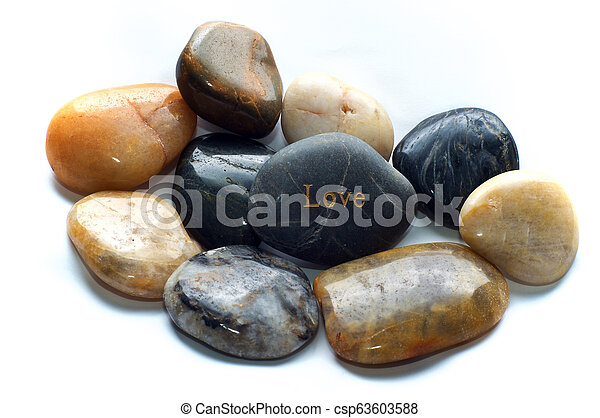 polished stones with love rock - csp63603588