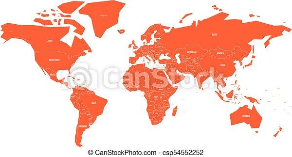Politial Map Of World Simple Flat Orange Vector Illustration