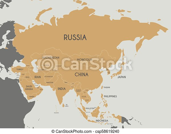 Political Asia Map Vector Illustration Editable And Clearly Labeled Layers