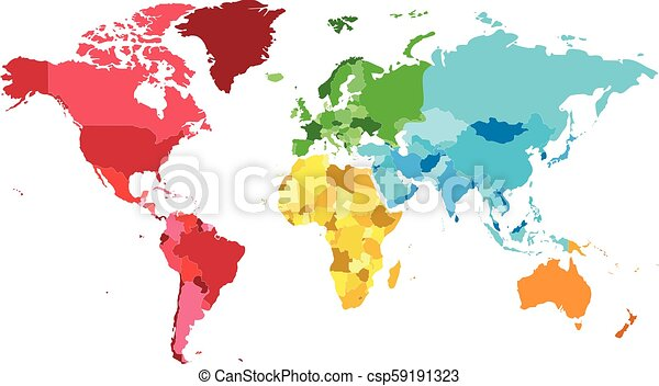 Political blank world map vector illustration with different colors ...