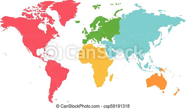 Political blank World Map vector illustration with different colors for  each continent and isolated on white background. Editable and clearly  labeled ...