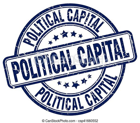 Political Capital Blue Grunge Stamp