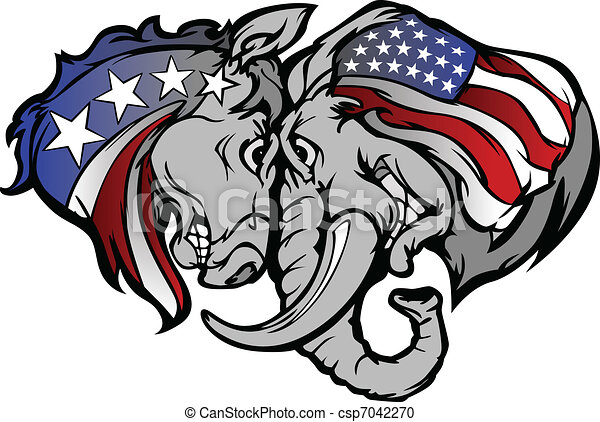Political Elephant and Donkey Carto - csp7042270