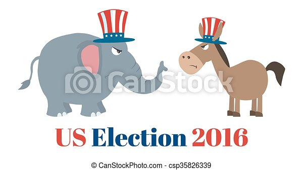 Political Elephant Vs Donkey - csp35826339