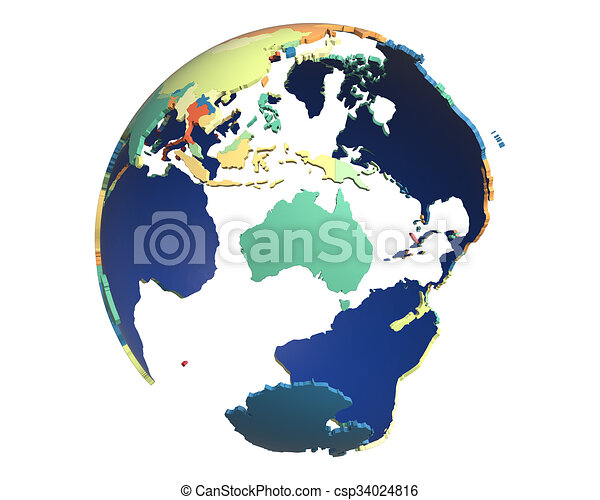 Political Globe, centered on Australia - csp34024816