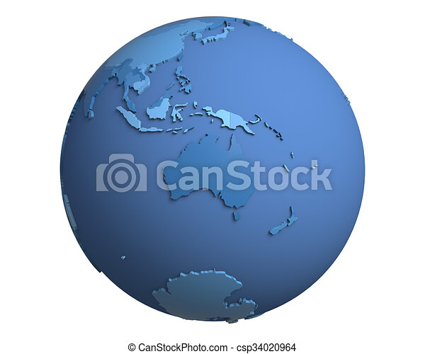 Political Globe, centered on Australia - csp34020964