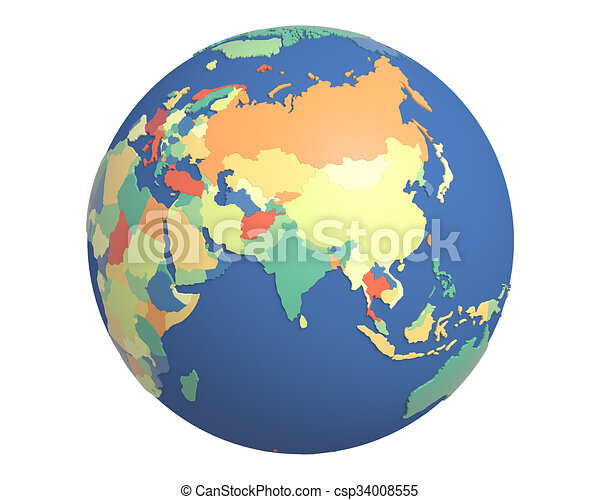 Political globe centered on india political globe with colored political globe centered on india csp34008555 gumiabroncs Choice Image